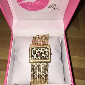 Betsy Johnson gold leopard face watch